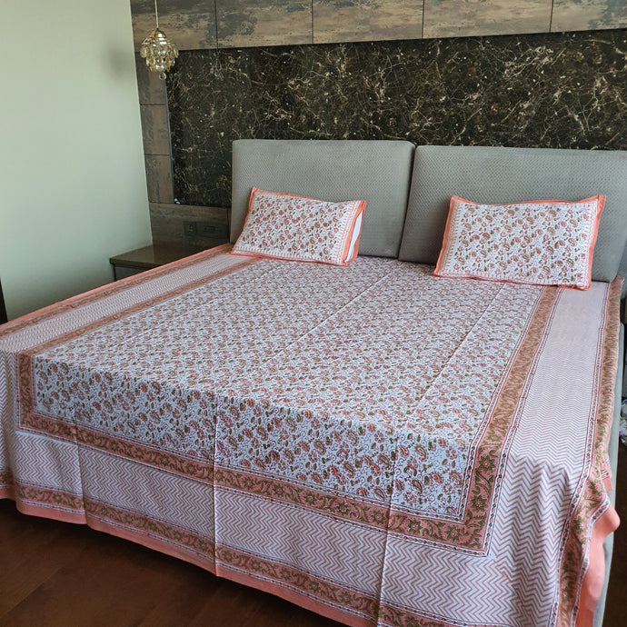 Peach, Green & White Floral Pure Cotton Handloom Block Printed Bedsheet with 2 Pillow Covers
