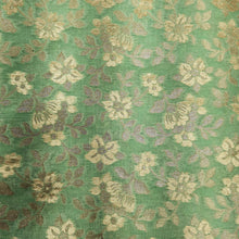 Load image into Gallery viewer, Lime Green Banarasi Chanderi Silk Gold Zari Weaved Fabric