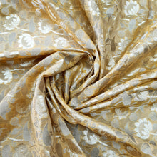 Load image into Gallery viewer, Golden Yellow Banarasi ,Chanderi Silk Fabric with Zari Work
