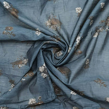 Load image into Gallery viewer, Grey Floral Digital print Pure Chanderi Fabric