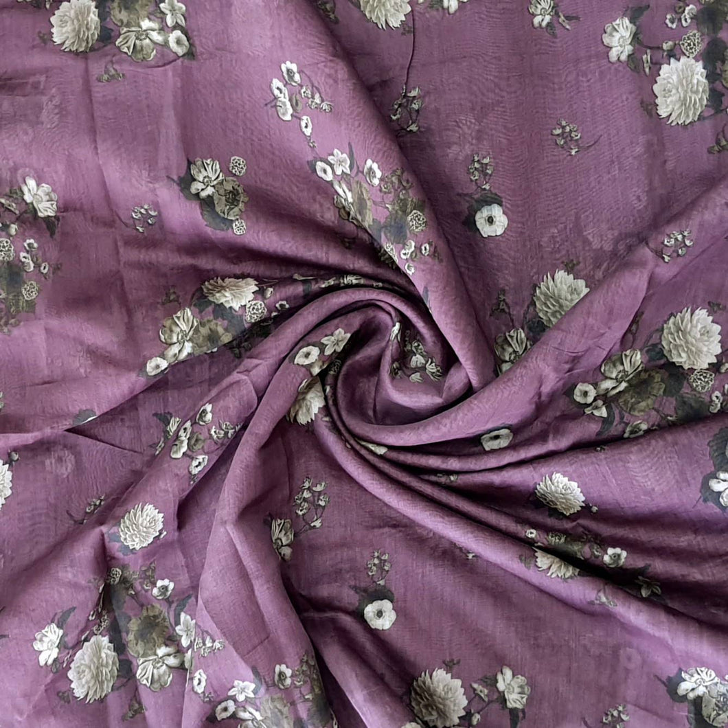 Wine Shade Floral Digital Chanderi Fabric