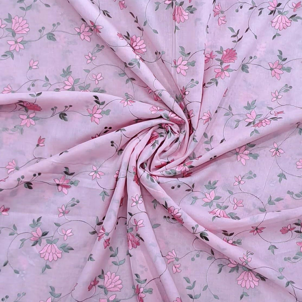 Pink And Gray Embroidery on 2x2 Rubia Cotton Fabric