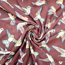 Load image into Gallery viewer, Flying Sparrows on Maroon Double Georgette Digital Print