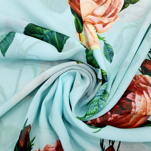 Sea Green Georgette Digital Print