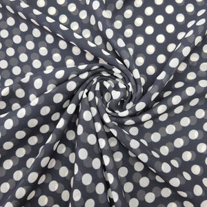 Black & White Medium Size Polka Dot Georgette Digital Print