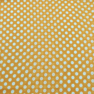 Yellow & White Medium Polka Dot Georgette Digital Print