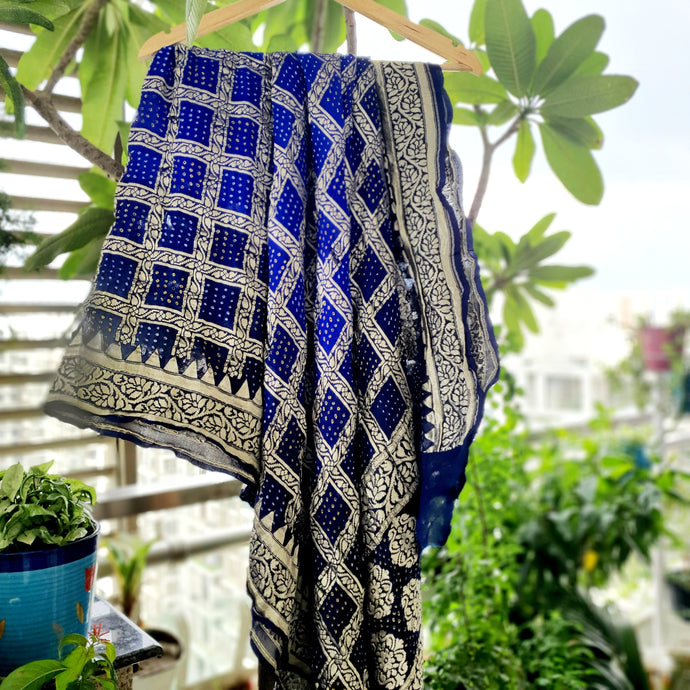 Black & Royal Blue Pure Crepe Khaddi Georgett Bandhani Dupatta