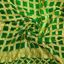 Load image into Gallery viewer, Bottle Green & Green Pure Crepe Khaddi Georgett Bandhani Dupatta