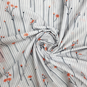 White Cotton Silk Digital Print