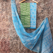 Load image into Gallery viewer, Green & Sky Blue Kota  Doriya Unstiched Suit Set with Dupatta