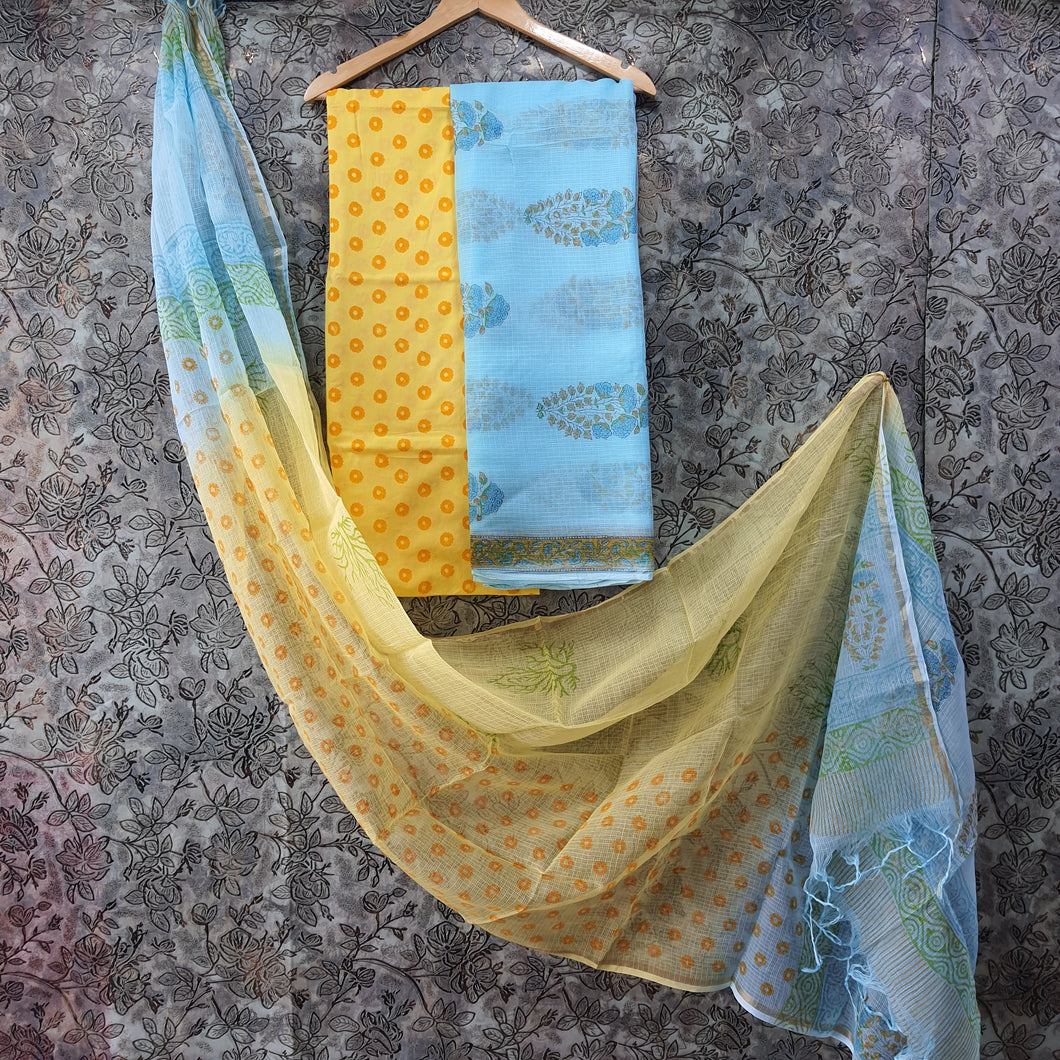 Sky Blue &Yellow Kota  Doriya Unstiched Suit Set with Dupatta