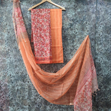 Load image into Gallery viewer, Carrot Pink & Orange  Kota  Doriya Unstiched Suit Set with Dupatta