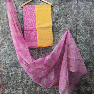 Pink &Yellow Kota  Doriya Unstiched Suit Set with Dupatta