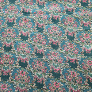 Bottle Green Base Floral Digital Print on Viscos Crepe Fabric