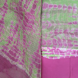 Parrot Green & Magenta Kota  Doriya Unstiched Suit Set with Dupatta