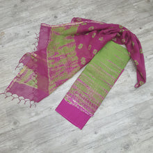 Load image into Gallery viewer, Parrot Green & Magenta Kota  Doriya Unstiched Suit Set with Dupatta