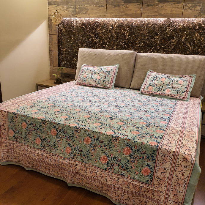 Grey, Pink & Blue Floral Pure Cotton Handloom Block Printed Bedsheet with 2 Pillow Covers