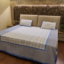 Load image into Gallery viewer, Sky Blue & Dark Blue On White Floral Pure Cotton Handloom Block Printed Bedsheet with 2 Pillow Covers