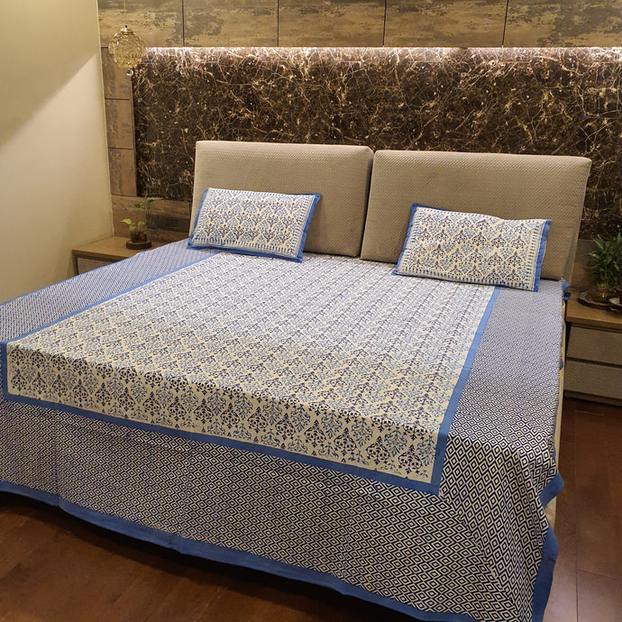 Sky Blue & Dark Blue On White Floral Pure Cotton Handloom Block Printed Bedsheet with 2 Pillow Covers