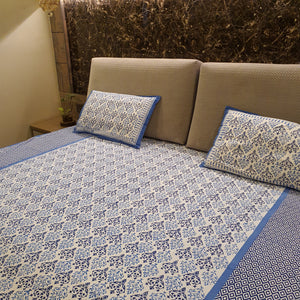 Blue & White Floral Pure Cotton Handloom Block Printed Bedsheet with 2 Pillow Covers(KING SIZE-xl)