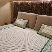 Load image into Gallery viewer, Green & White Polka Dots Pure Cotton Handloom Block Printed Bedsheet with 2 Pillow Covers(KING SIZE)