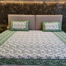 Load image into Gallery viewer, Green & White Floral Pure Cotton Handloom Block Printed Bedsheet with 2 Pillow Covers(KING SIZE)
