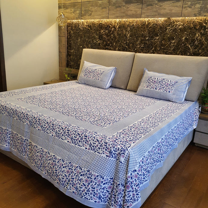 Blue & Grey Floral Pure Cotton Handloom Block Printed Bedsheet with 2 Pillow Covers(KING SIZE)