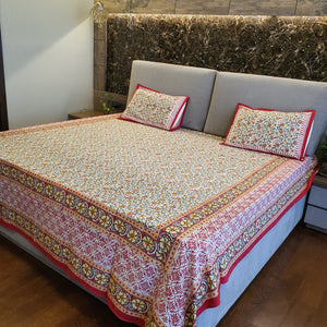 Yellow,Red & White Floral Pure Cotton Handloom Block Printed Bedsheet with 2 Pillow Covers