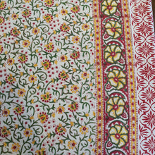Load image into Gallery viewer, Yellow,Red & White Floral Pure Cotton Handloom Block Printed Bedsheet with 2 Pillow Covers