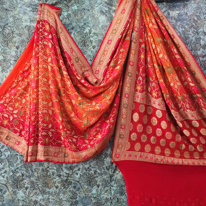 Orange Pure Crepe Bandhani Saree