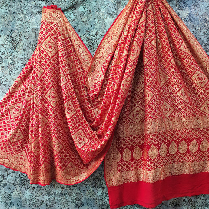 Red Pure Crepe Bandhani Saree