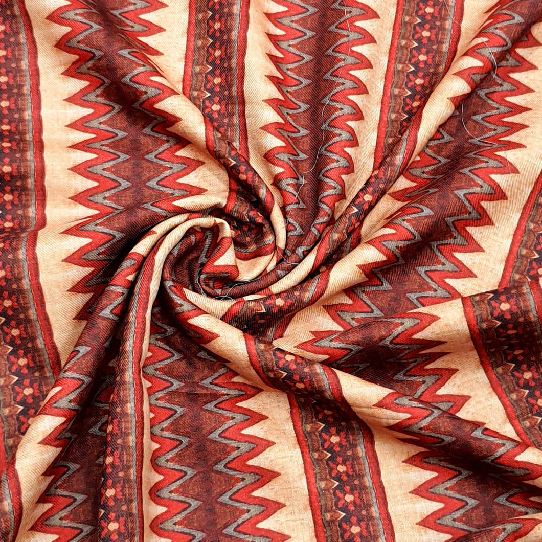 Rust & Beige Pure Spun Digital Printed Fabric