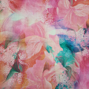 Pink Pure Spun Digital Printed Fabric