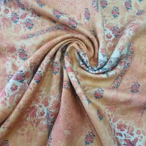 Peachish Orange Pure Spun Digital Printed Fabric