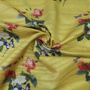 Dark Lemon Yellow Viscose Tussar Digital Print