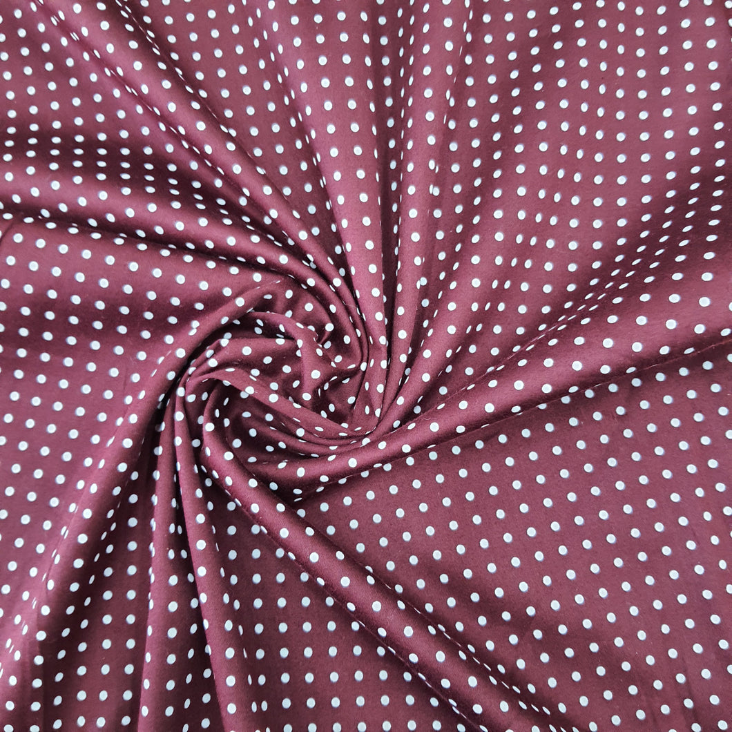 Dark Maroon Glace Cotton Polka Dot