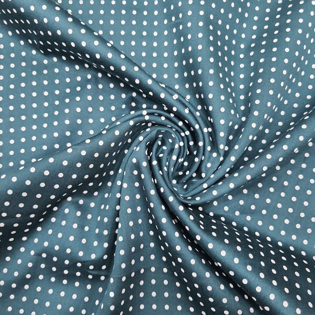 Teal Blue Glace Cotton Polka Dot