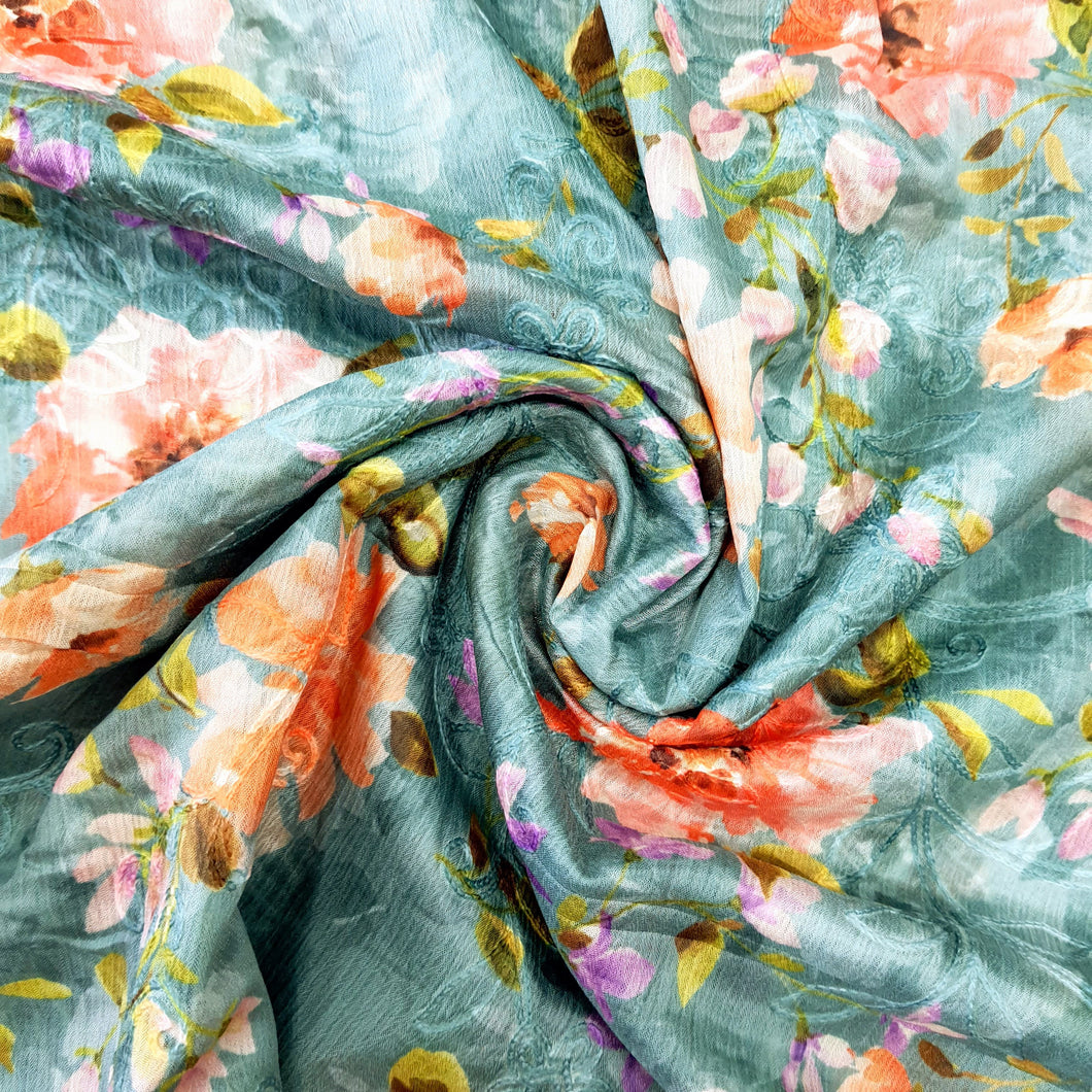 Sea Green Chinon Chiffon Printed Emroidered Fabric