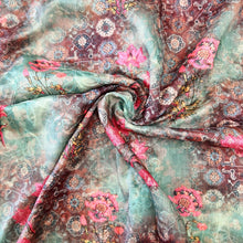 Load image into Gallery viewer, Mint Green Chinon Chiffon Printed Embroidered Fabric