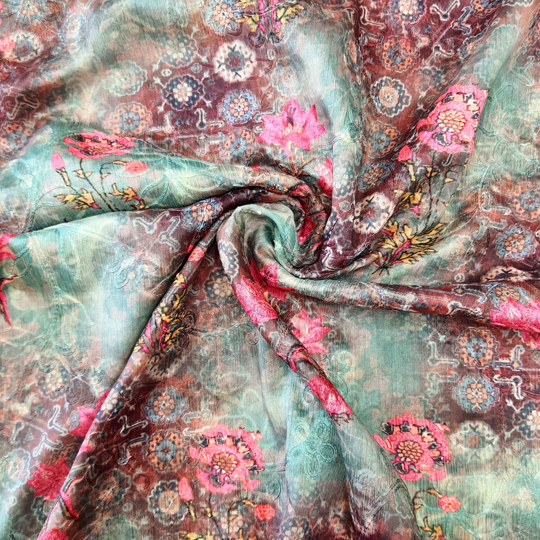 Mint Green Chinon Chiffon Printed Embroidered Fabric