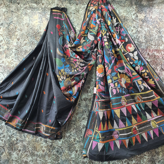 Black Pure Tussar Silk Handcrafted Kantha work Heavy Embroidered Saree