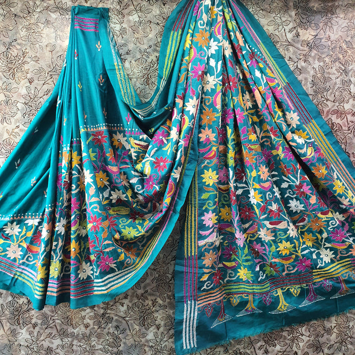Turquoise Pure Tussar Silk Handcrafted Kantha work Heavy Embroidered Saree