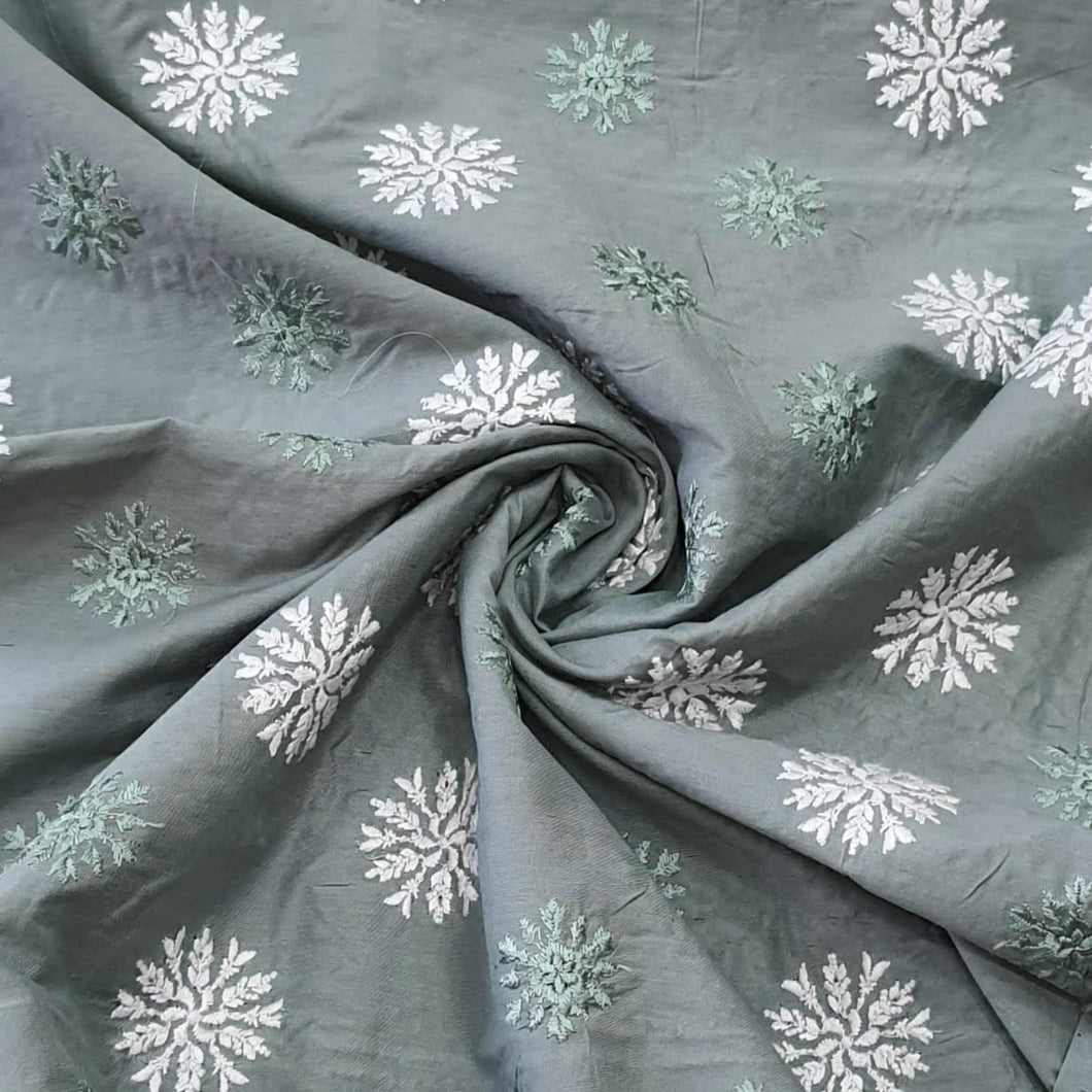 Grey Cotton Silk Embroidered Fabric