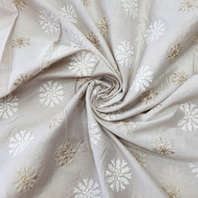 Load image into Gallery viewer, Beige Cotton Silk Embroidered Fabric