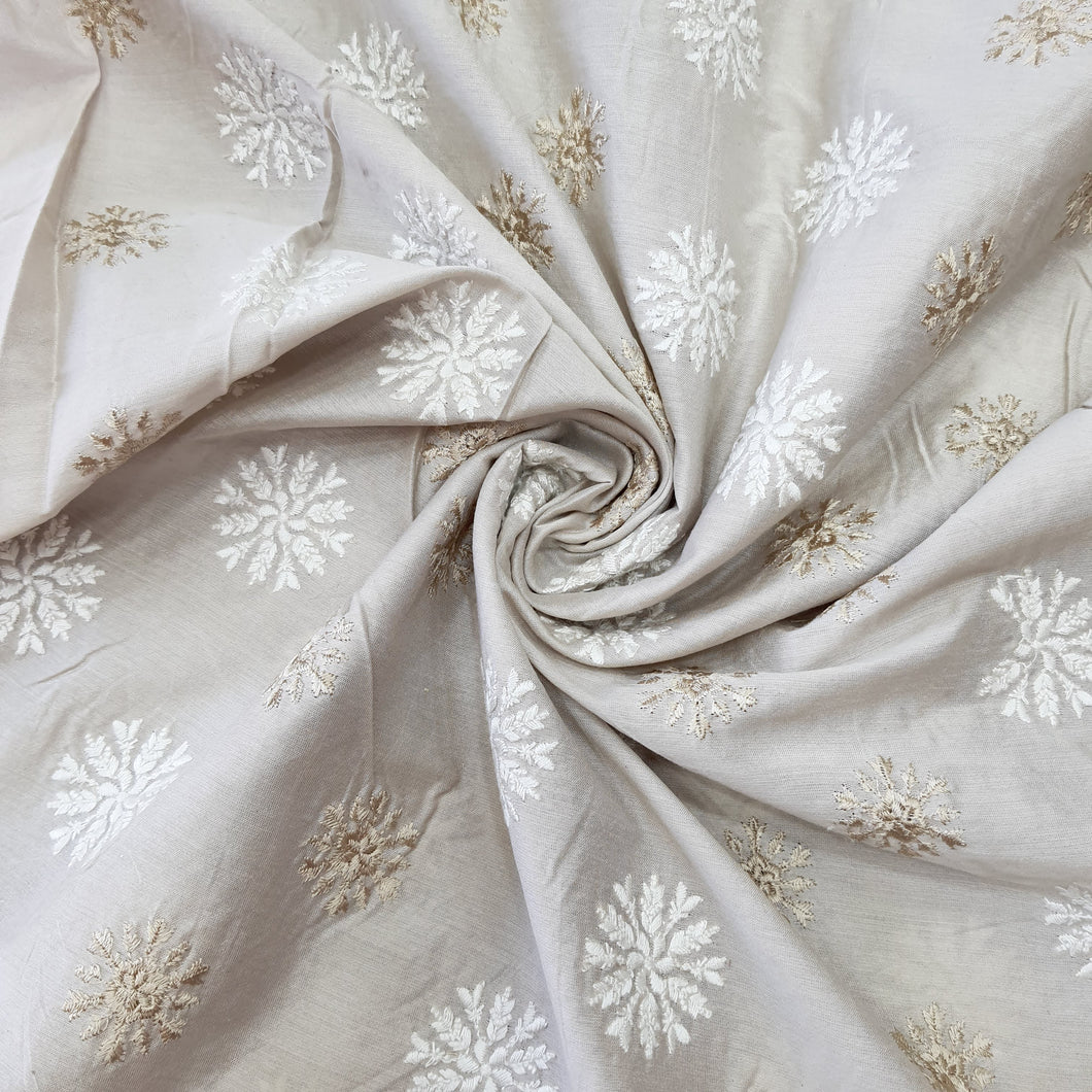 Beige Cotton Silk Embroidered Fabric