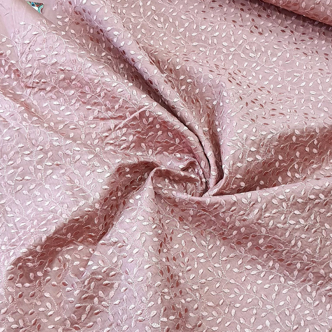 Onion Pink Chanderi  Silk  Emroidered Fabric