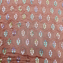 Load image into Gallery viewer, Blush Brown Base Chinon Chiffon Embroidered Fabric