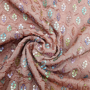 Blush Brown Base Chinon Chiffon Embroidered Fabric