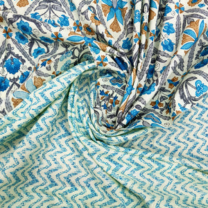 Cream & Blue Cotton Hand Block Printed Top & Bottom-2.5 mtr each