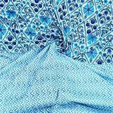 Load image into Gallery viewer, Powder Blue Cotton Hand Block Top & Bottom Set - 2.5 mtr each
